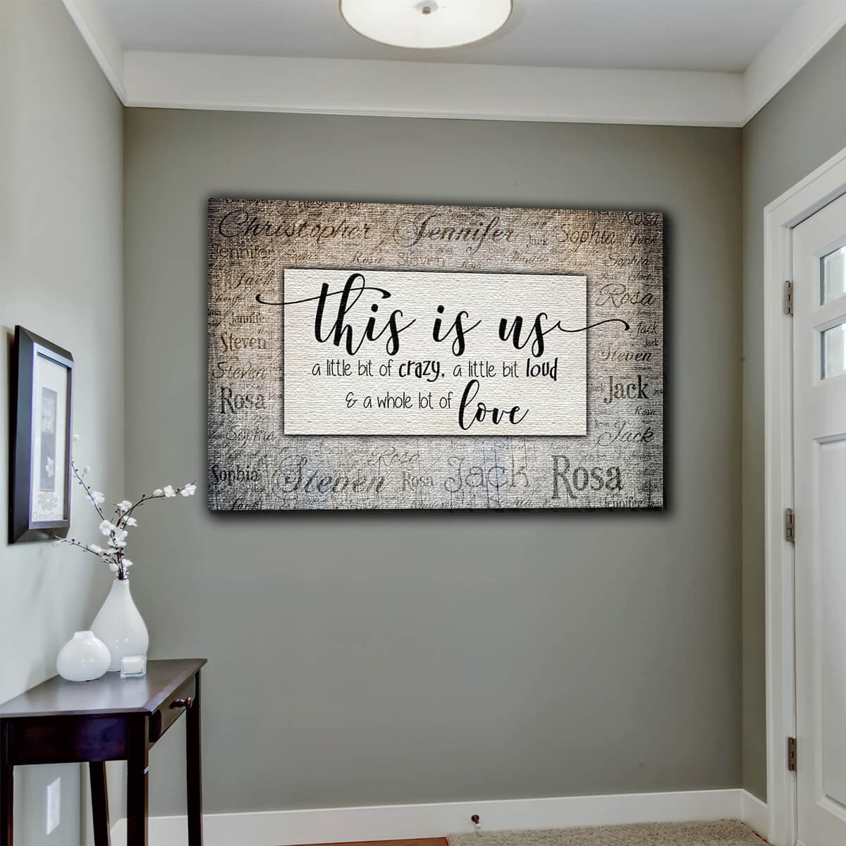 "Personalized ""This Is Us - Names On Background"" Premium Canvas Wall Art"