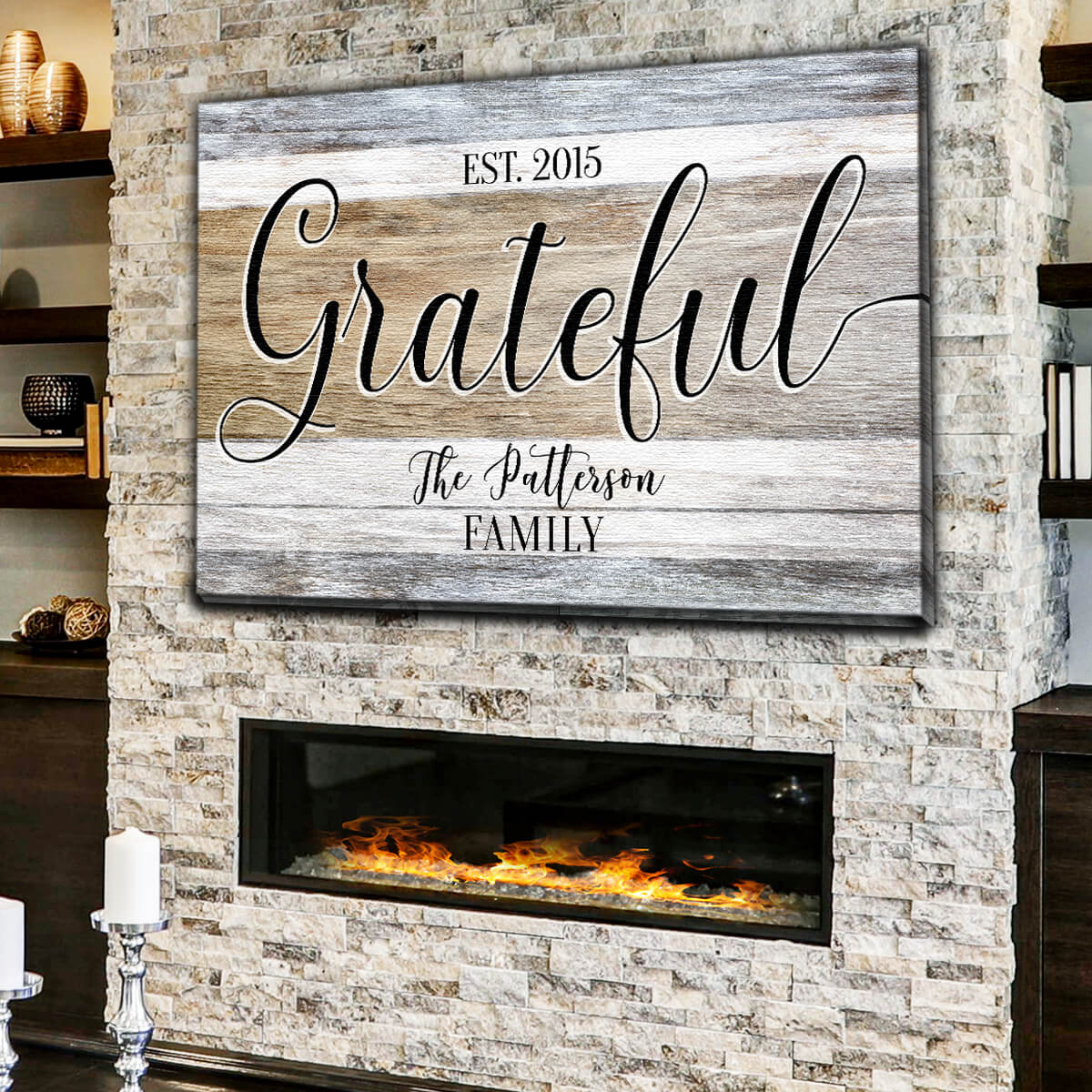 "Personalized ""Grateful - Family Name & Year"" Premium Canvas Wall Art"