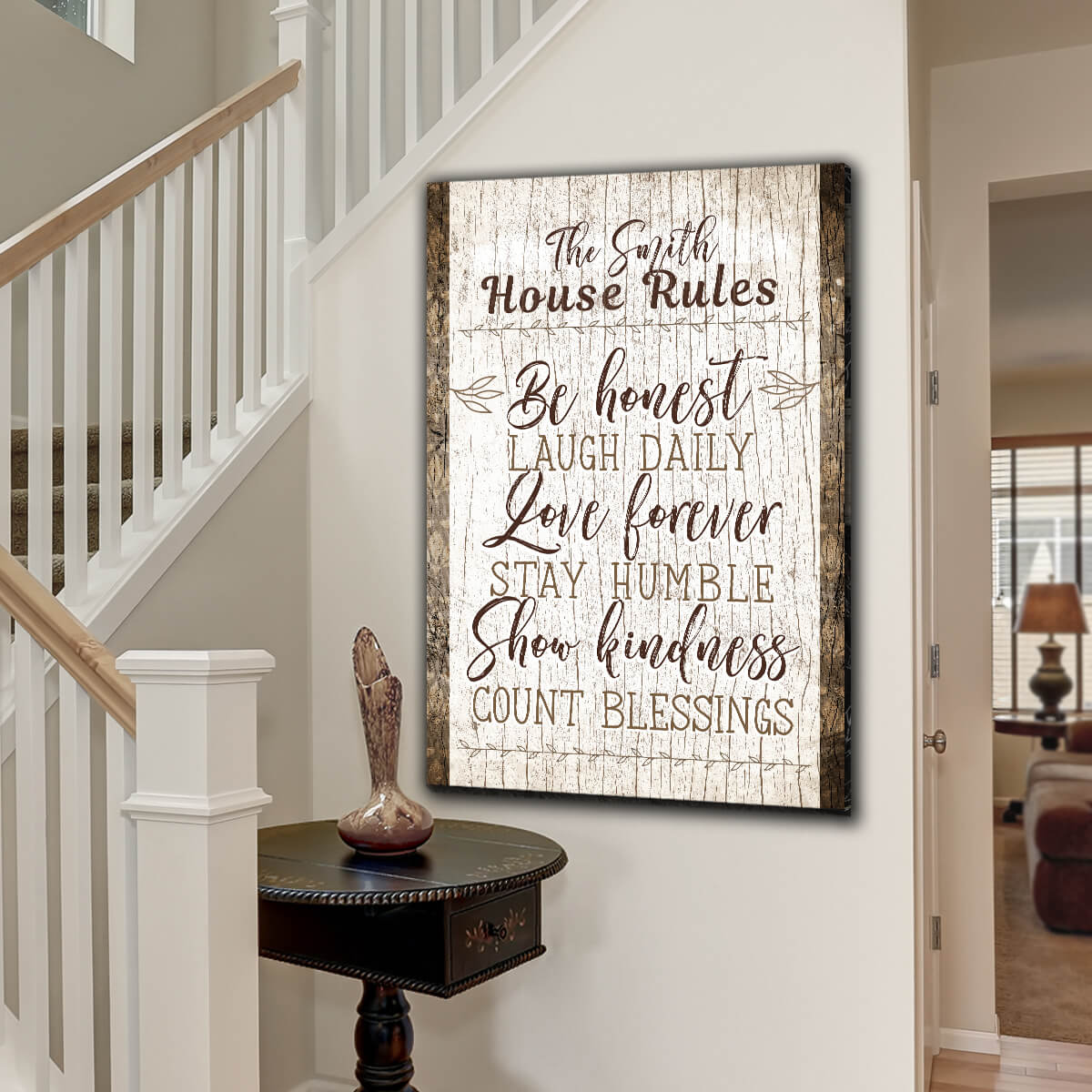 "Personalized ""Family Name - House Rules"" Premium Canvas Wall Art"