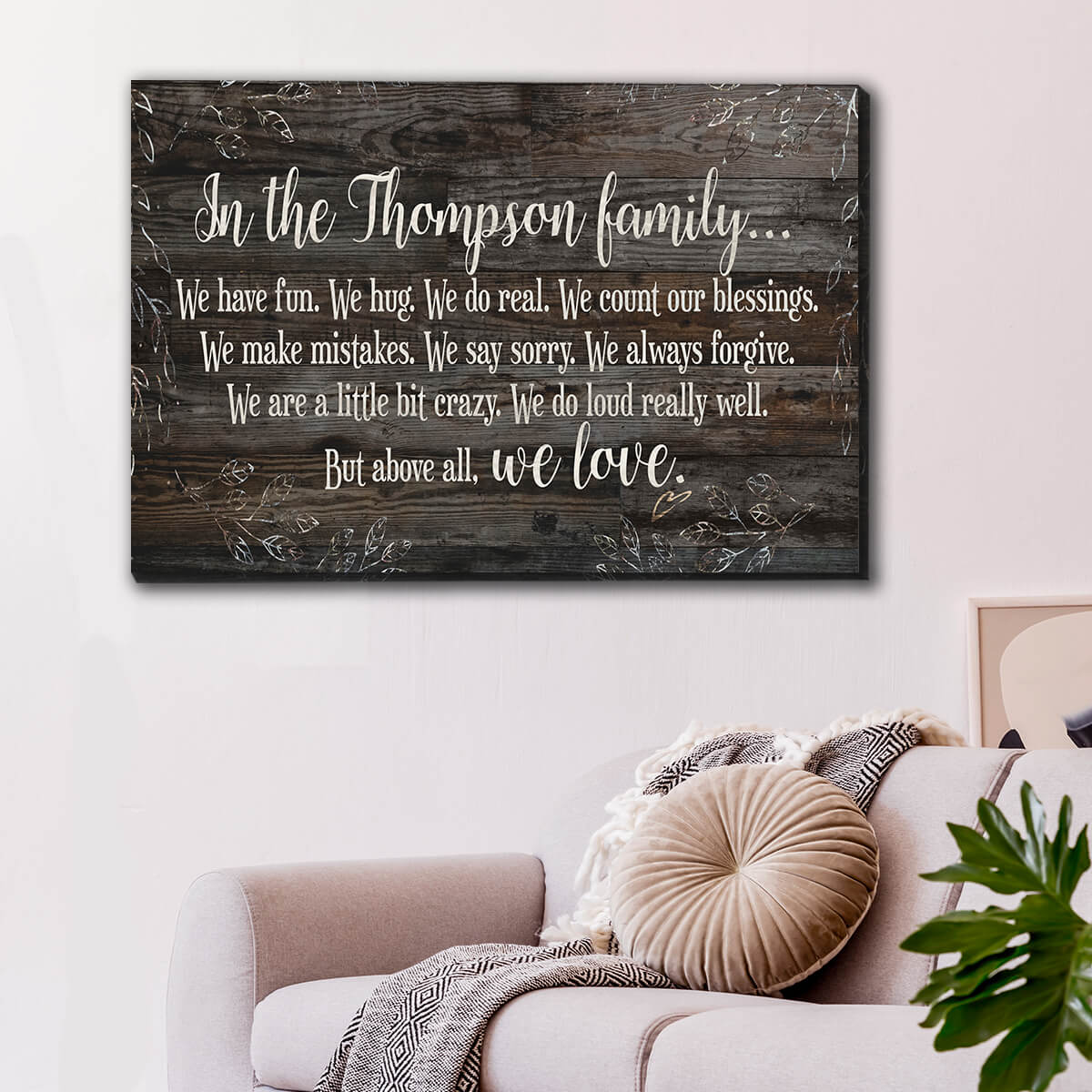 "Personalized ""We Have Fun But Above All We Love"" Premium Canvas Wall Art"