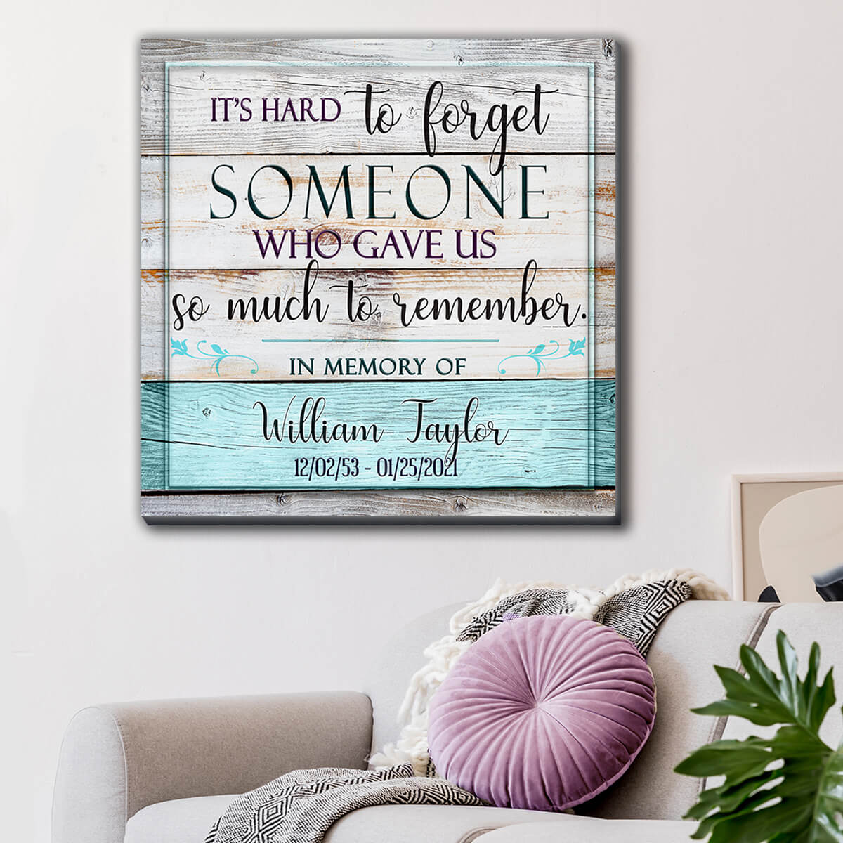 "Personalized ""It's Hard To Forget Someone"" Memorial Premium Canvas Wall Art"