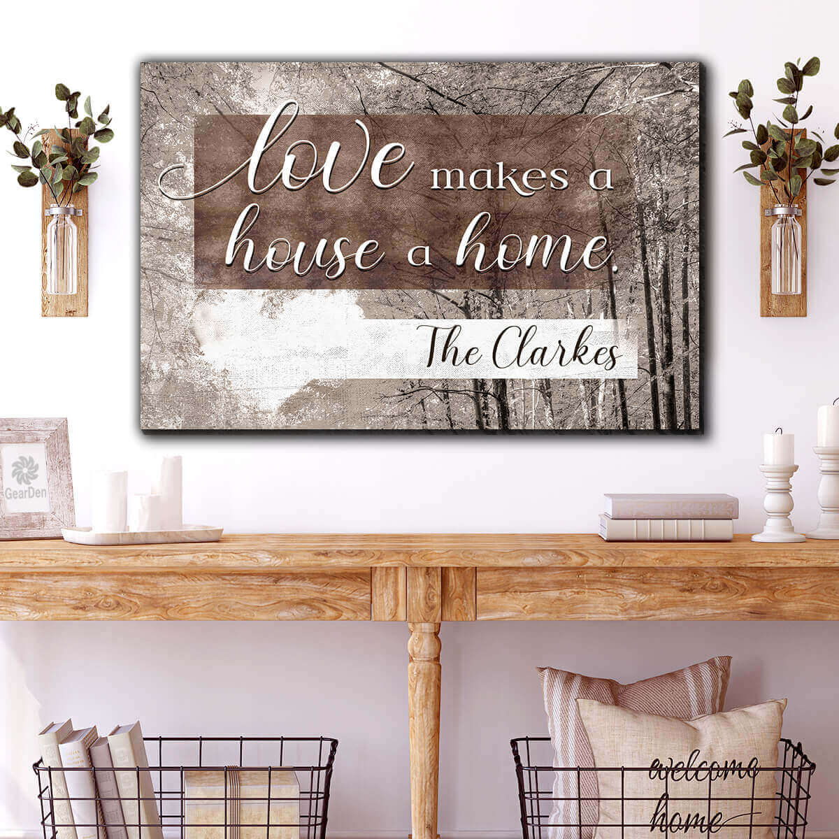 "Personalized ""Love Makes A House A Home"" Premium Canvas Wall Art"