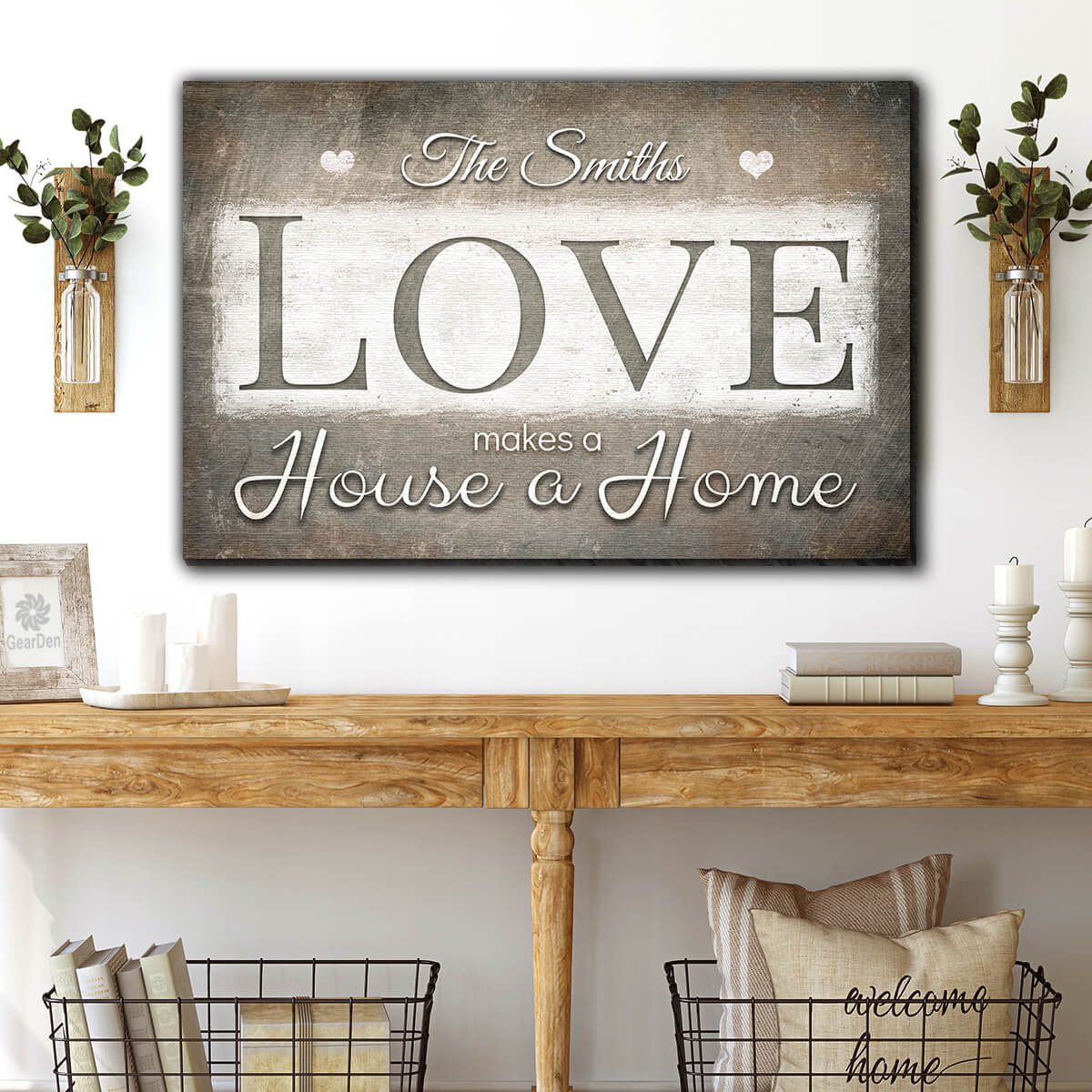 "Personalized ""Love Makes A House A Home"" Premium Canvas v2 Wall Art"