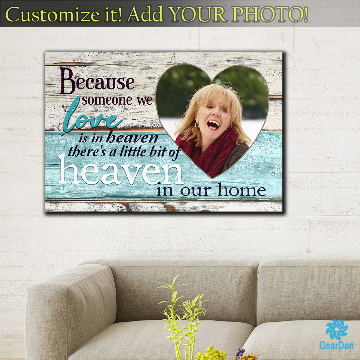 "Photo Personalized ""Someone We Love is in Heaven"" Premium Canvas"