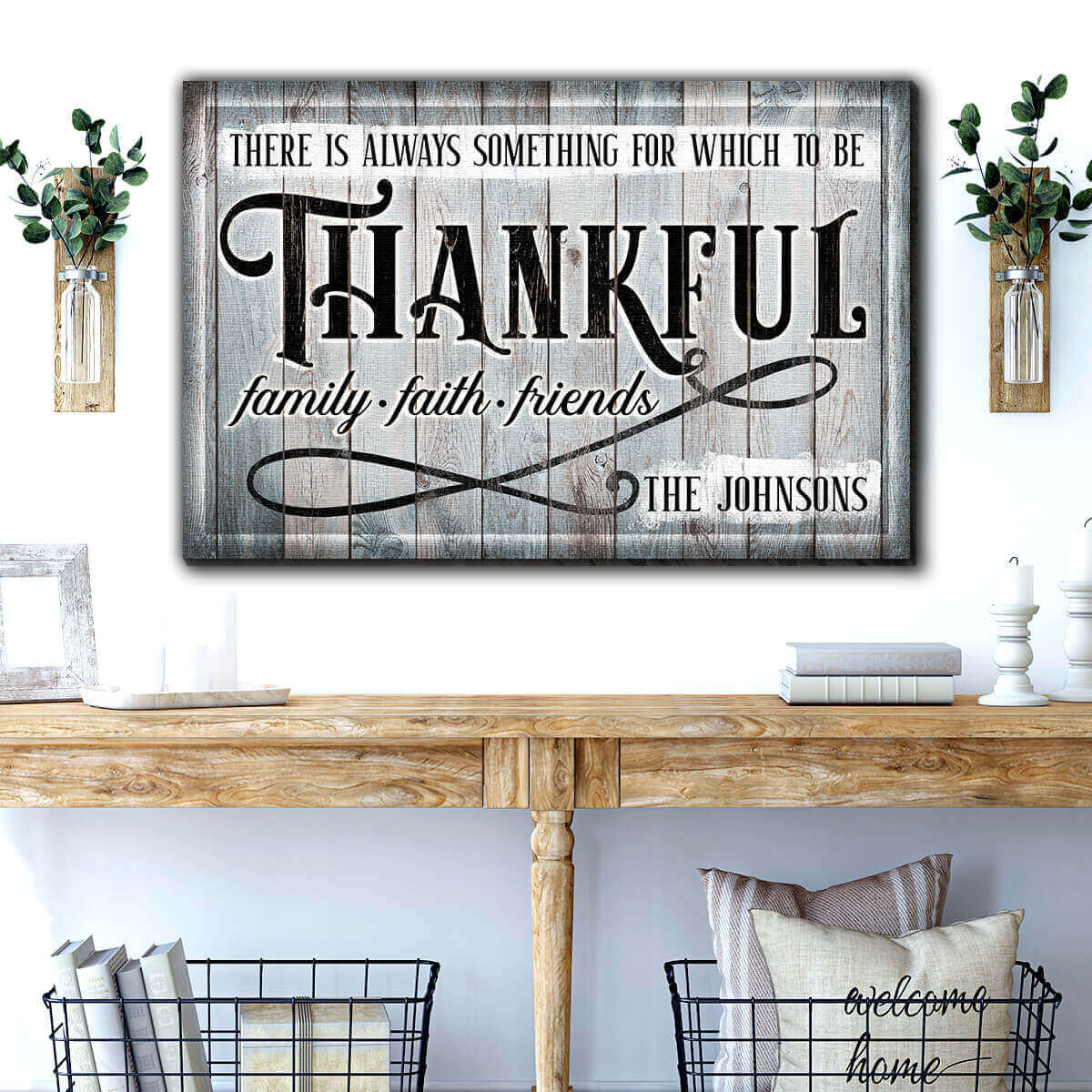 "Personalized ""There's Always Something To Be Thankful"" Premium Canvas Wall Art"