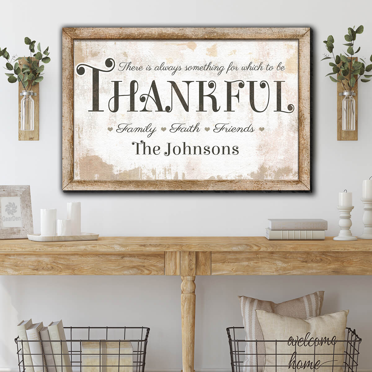 "Personalized ""There's Always Something To Be Thankful"" Premium Canvas Wall Art v2"