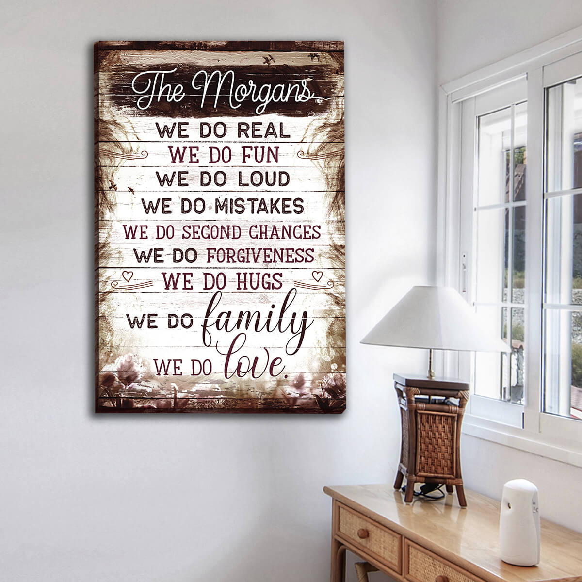 "Personalized"" We Do Real, We Do Family, We Do Love"" Premium Canvas Wall Art"