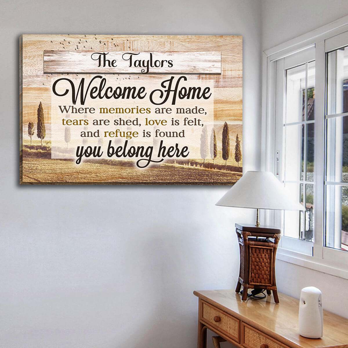 "Personalized ""Welcome Home - You Belong Here"" Premium Canvas Wall Art"