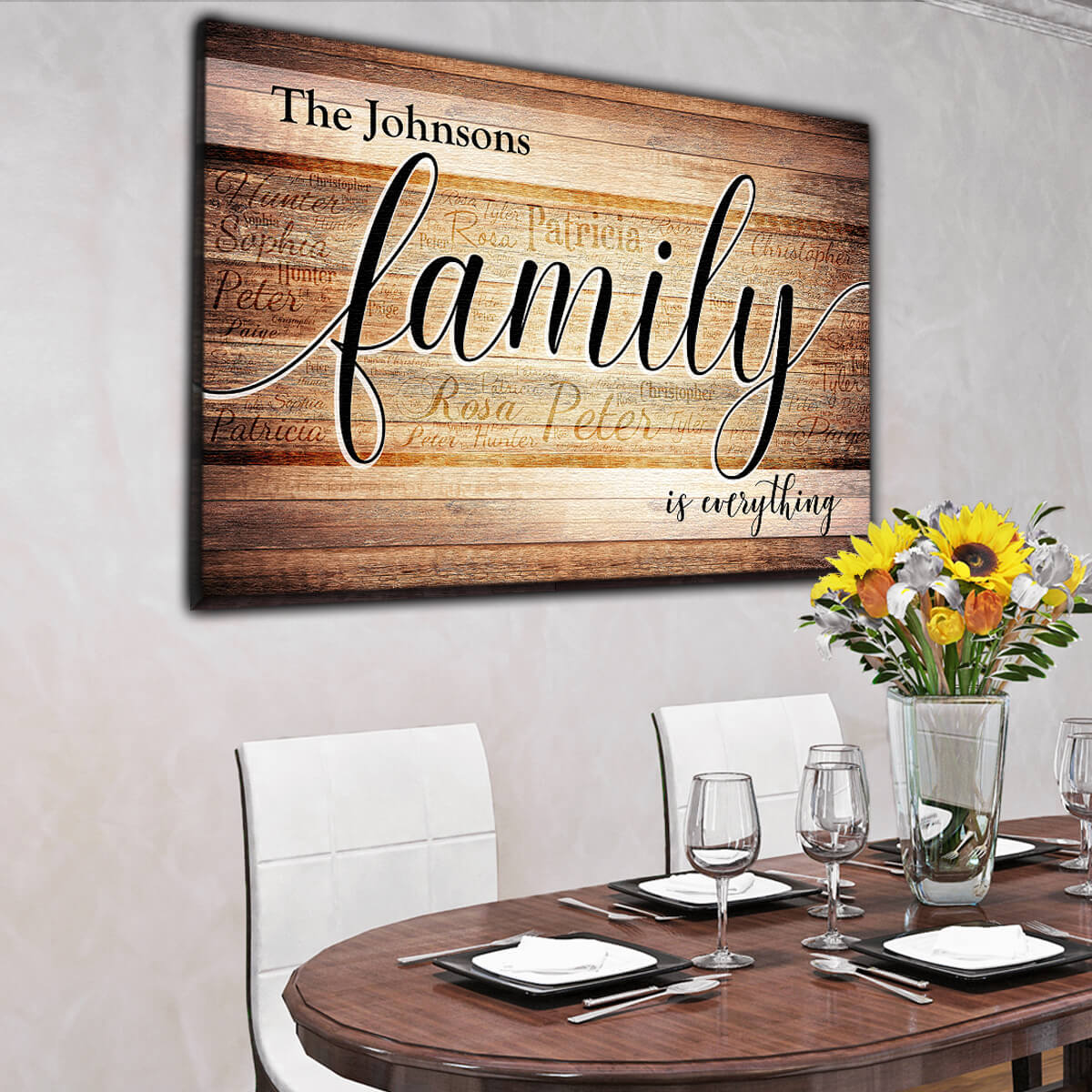 "Personalized ""Family is Everything"" - Names On  Background Premium Canvas"
