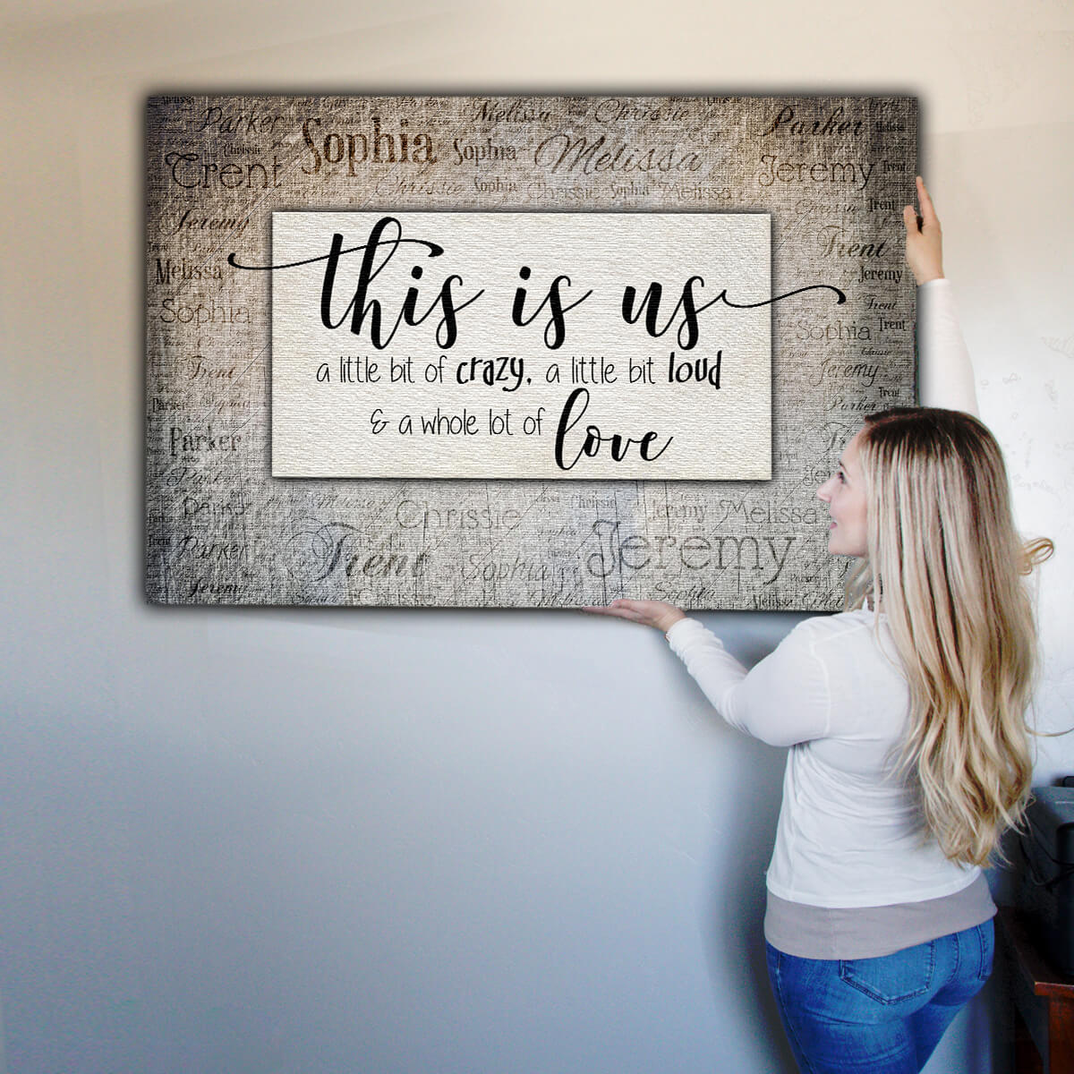 "Personalized ""This Is Us"" With Names on Background Premium Canvas"