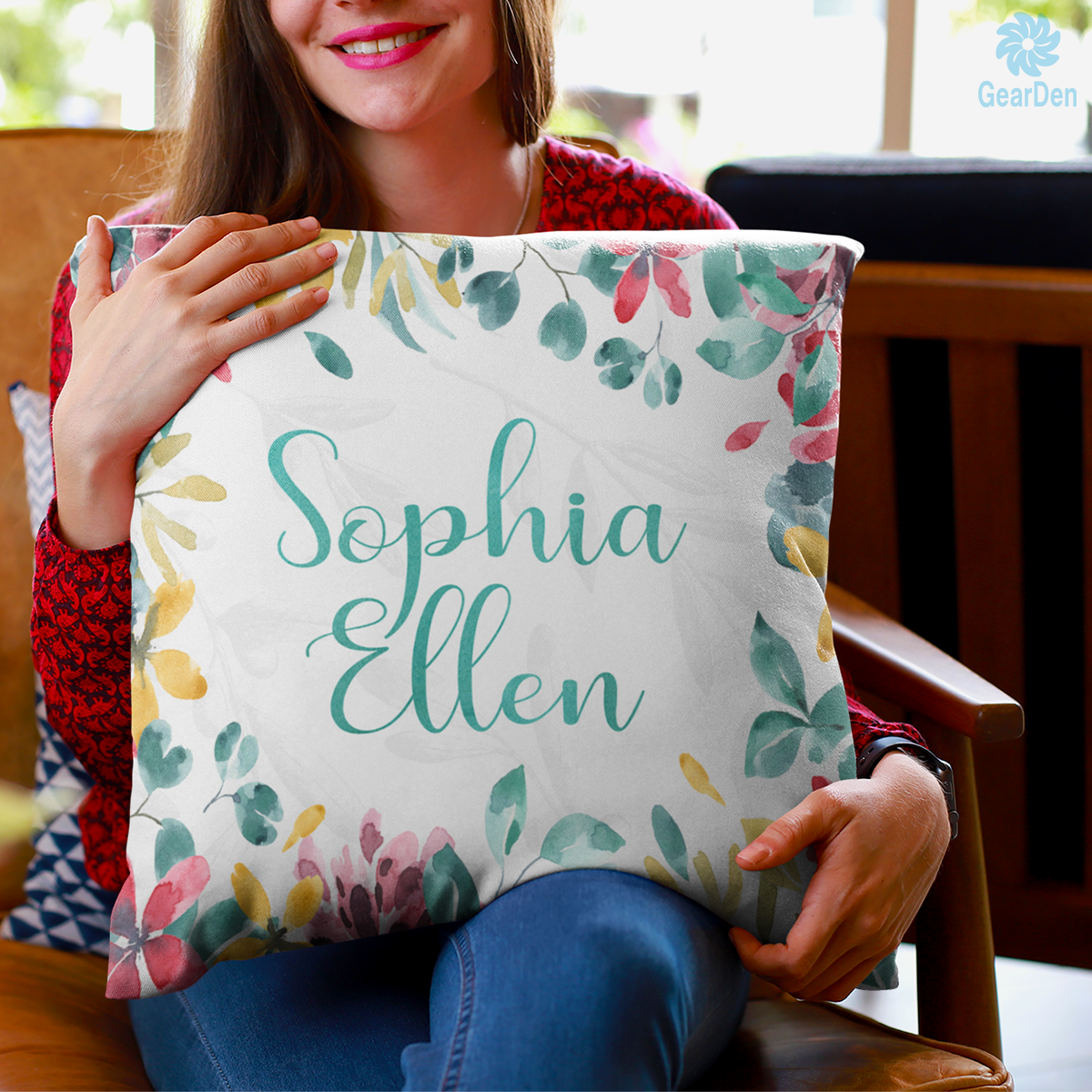 Personalized Name Pillow With Floral Print