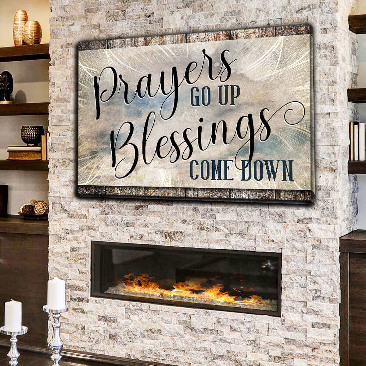 """Prayer Go Up, Blessings Come Down"" Premium Canvas Wall Art"