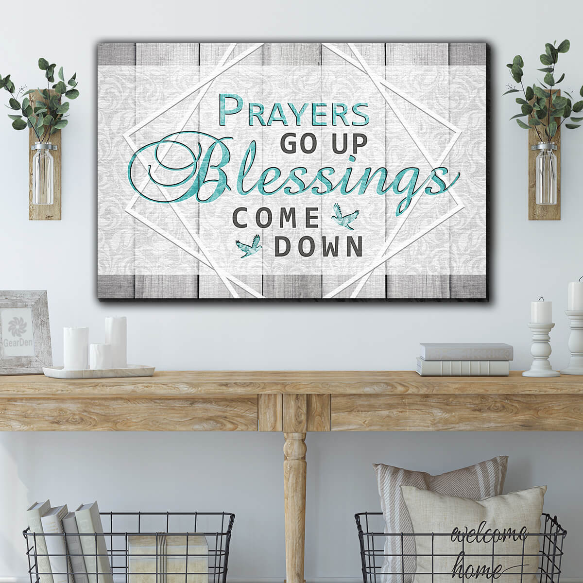 """Prayers Go Up, Blessings Come Down"" Premium Canvas v2 Wall Art"