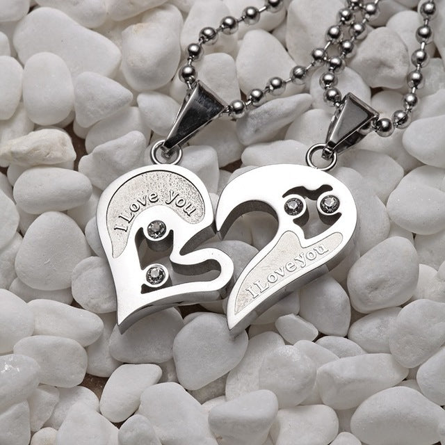 Beautiful Heart Love Couple Necklaces
