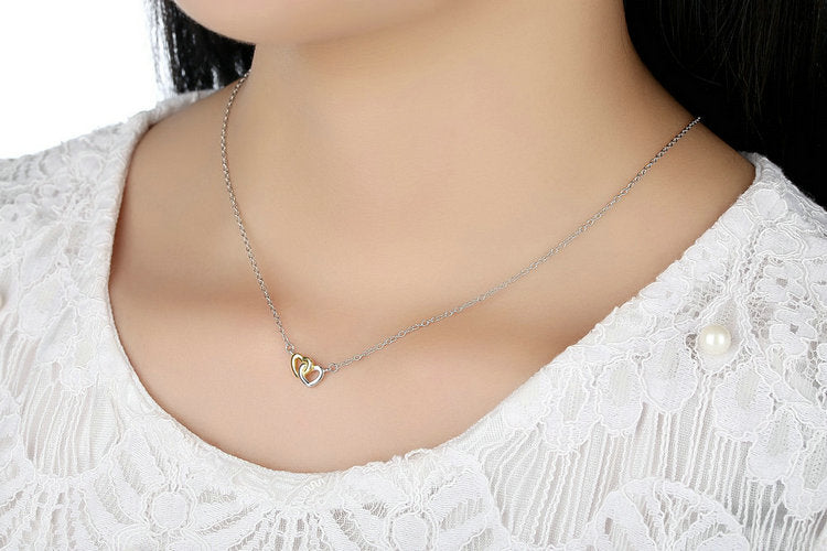 Delicate Linked Hearts Pendant Necklace