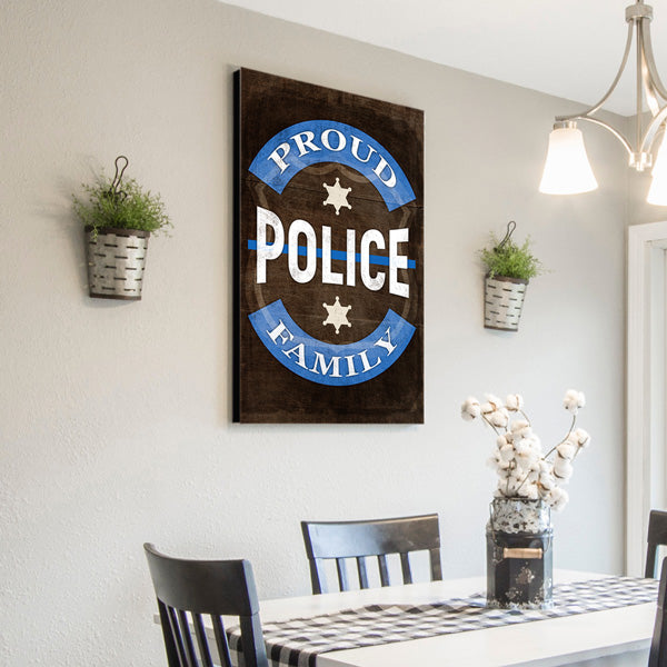 """Proud Police Family"" Canvas Wall Art"