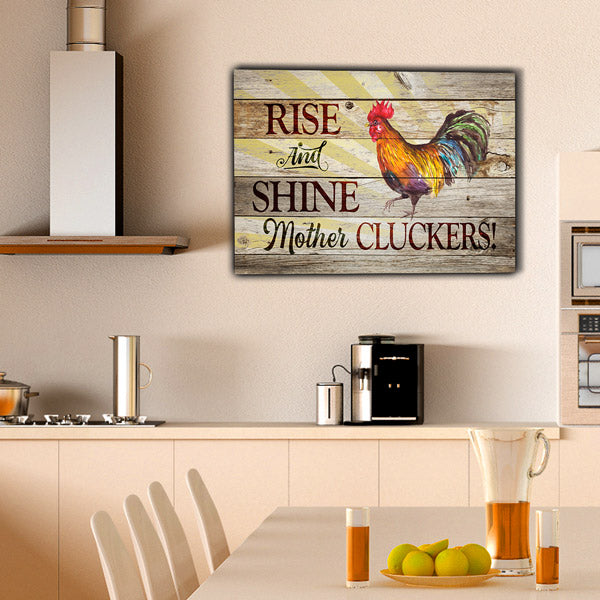 """Rooster - Rise And Shine"" Premium Canvas Wall Art"