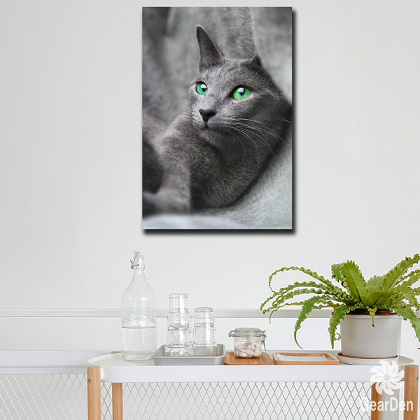 """Russian Blue Cat"" Premium Canvas Wall Art"