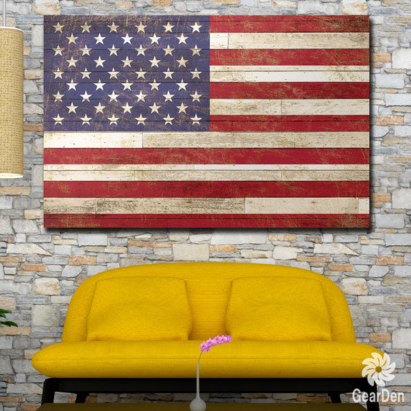 """American Flag On Wood"" Rustic Premium Canvas"