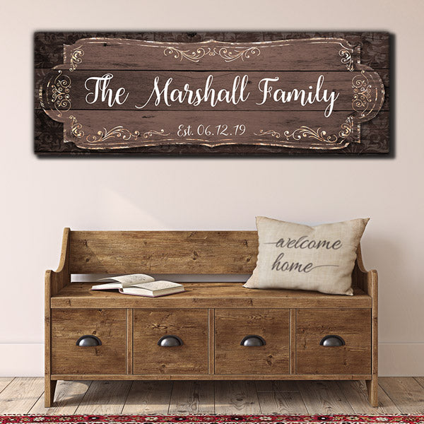 Personalized Rustic Style Family Name Premium Panoramic Canvas