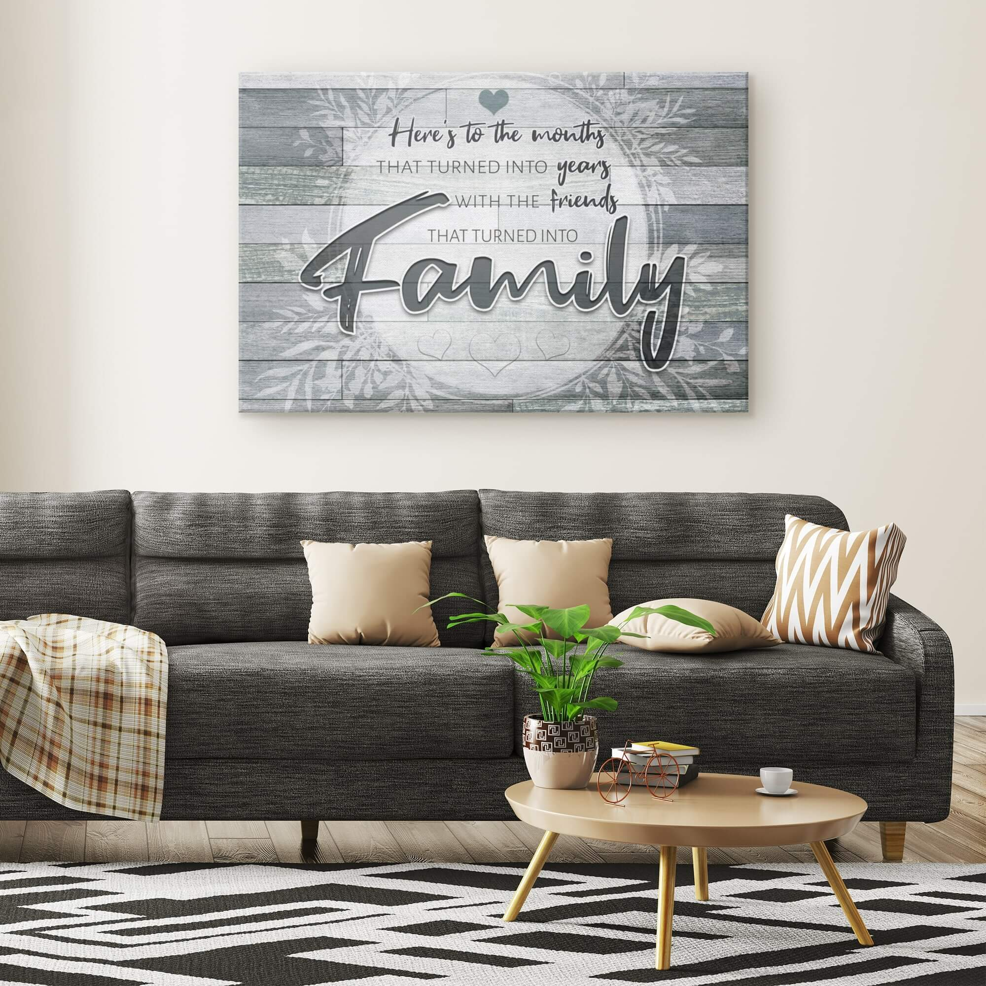 """Here's To The Friends Turned Into Family"" Premium Canvas v2"