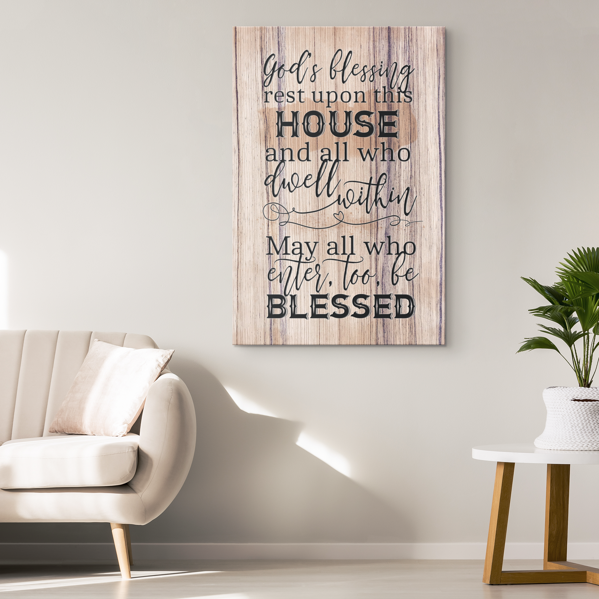 """God's Blessing Rest Upon This House"" Premium Canvas"