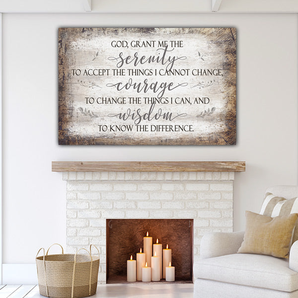 """God, Grant Me The Serenity, Courage, Wisdom"" Premium Canvas Wall Art"