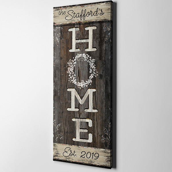 "Personalized Family Name ""Home"" Premium Panoramic Canvas"