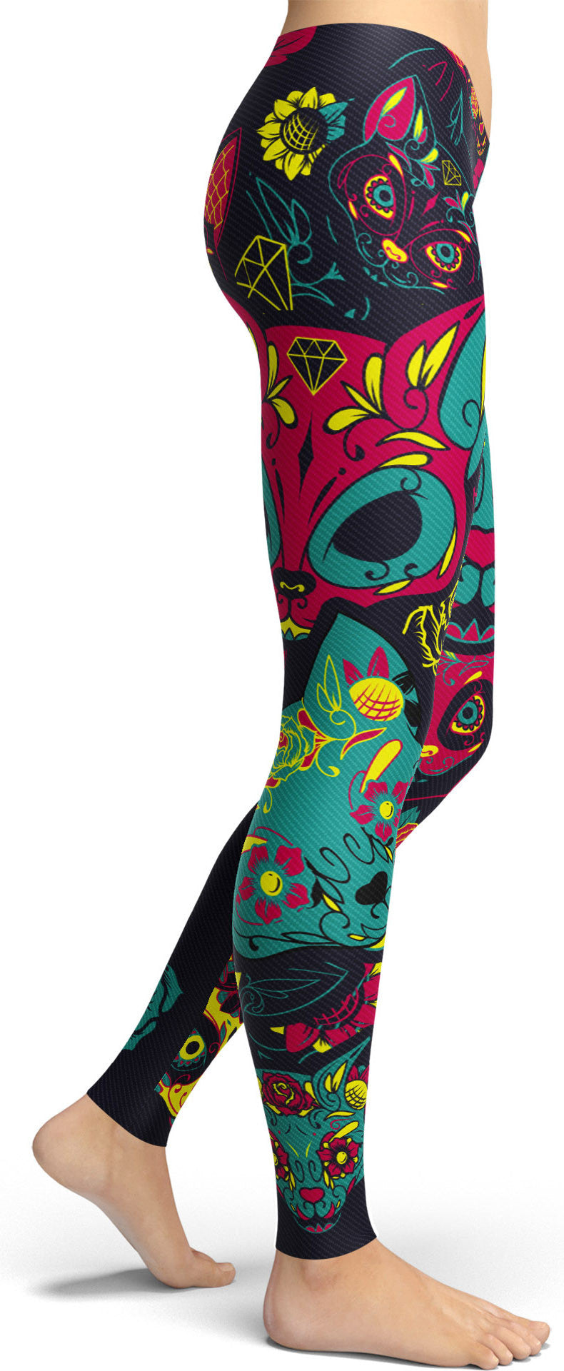 Cat Sugar Skull Leggings