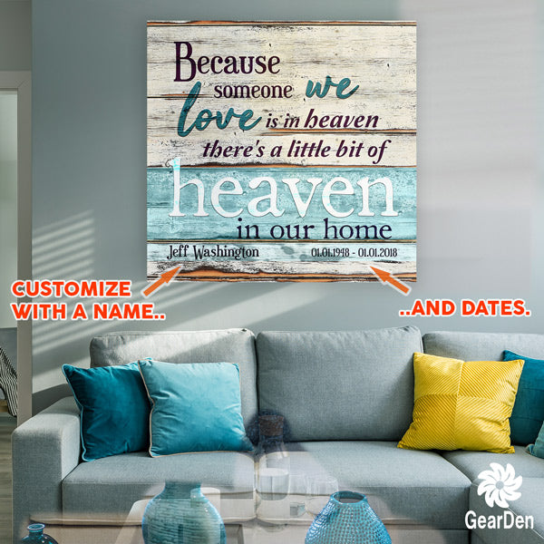 someone we love is in heaven personalized canvas wall art