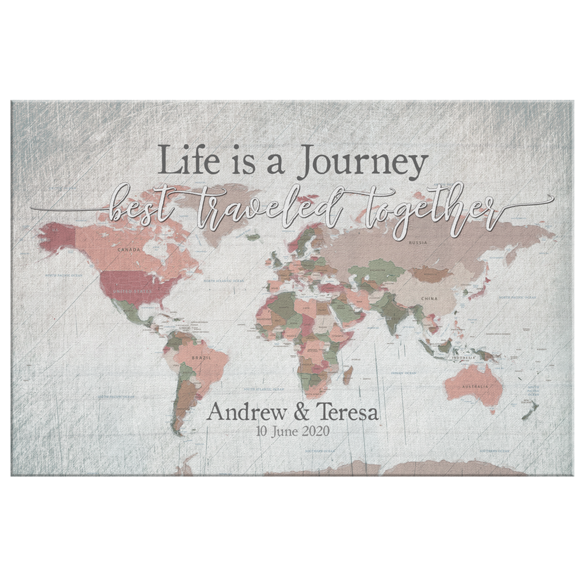 "Personalized ""Life Is A Journey - World Map"" Premium Canvas"