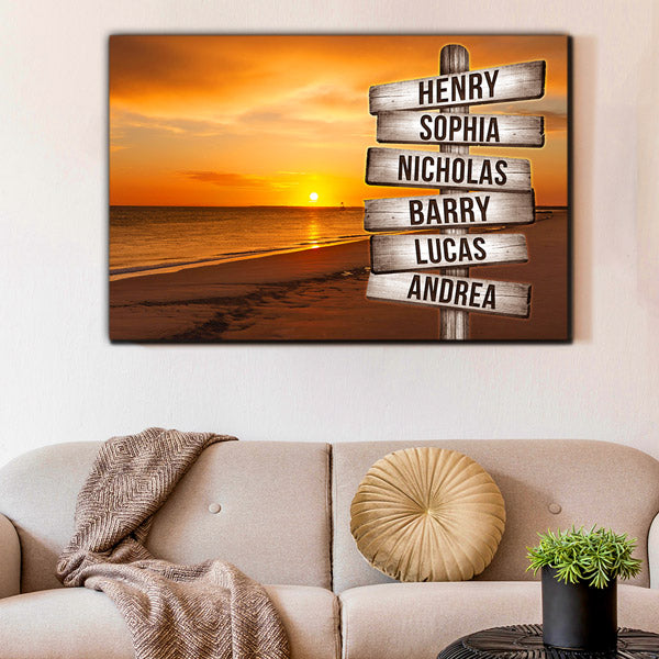 "Personalized ""Sunset Beach - Names On Wood Sign"" Premium Canvas Wall Art"