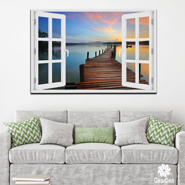"""Beach Boardwalk Window View"" Premium Canvas"