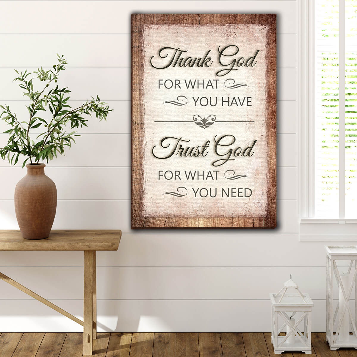 """Thank God For What You Have"" Premium Canvas Wall Art v2"