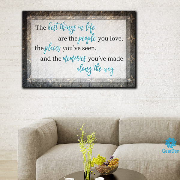 """The Best Things In Life"" Canvas Wall Art"