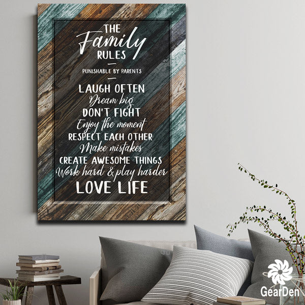 """The Family Rules"" Premium Canvas"