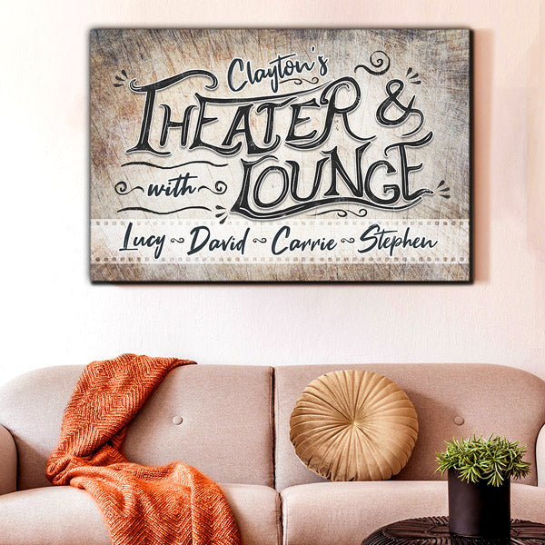 "Personalized ""Theater & Lounge"" Premium Canvas Wall Art"