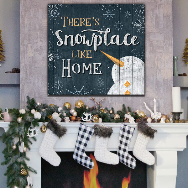 """There's Snowplace Like Home"" Christmas Premium Canvas"