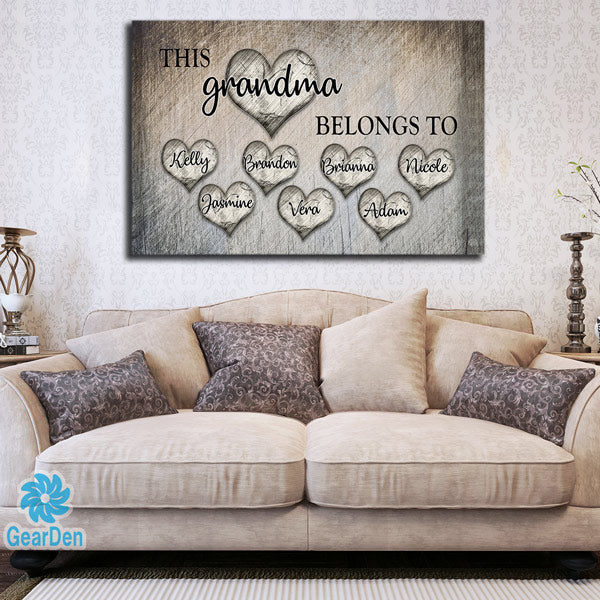 "Personalized ""This Grandma Belongs To"" Premium Canvas"