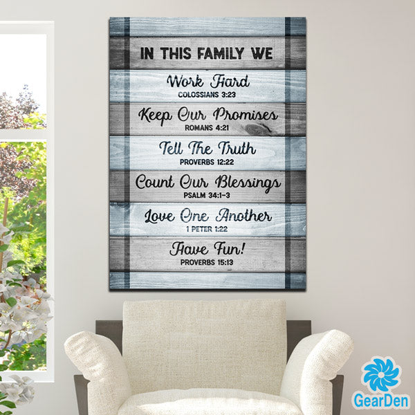 """In this Family - Bible Quotes"" Premium Canvas"