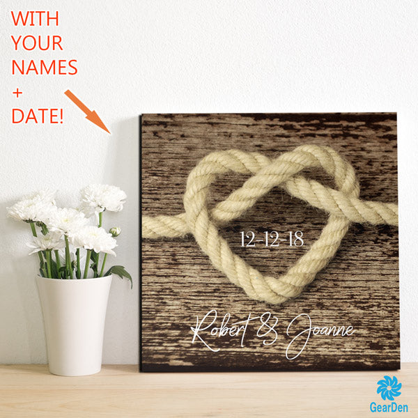 tie the knot wedding day personalized canvas wall art large