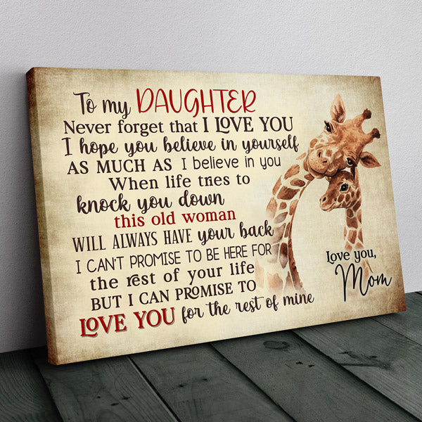 """My Daughter, Love You For The Rest Of Mine"" Premium Canvas Wall Art"