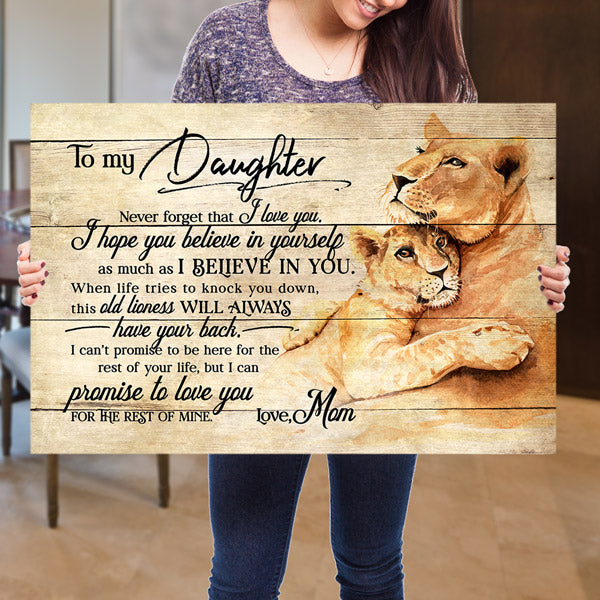 """To My Daughter, Never Forget I Love You, This Lioness"" Premium Canvas"