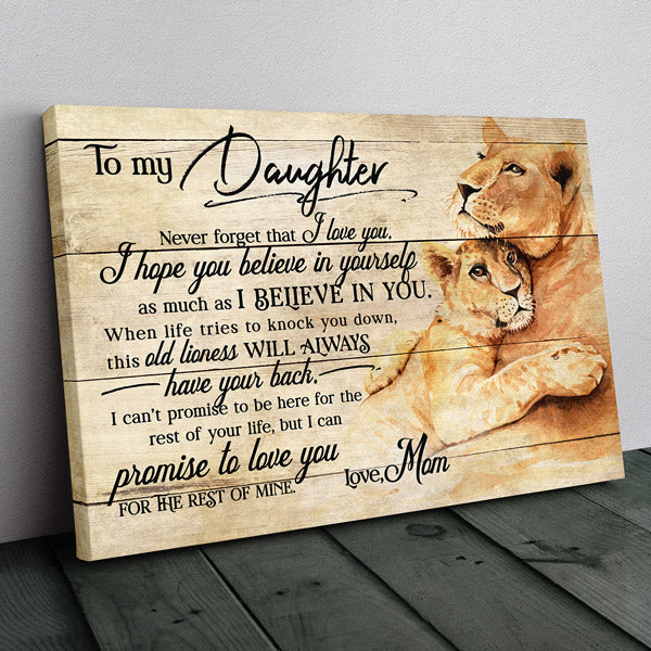 """Lion Mom - To My Daughter"" Premium Canvas Wall Art"