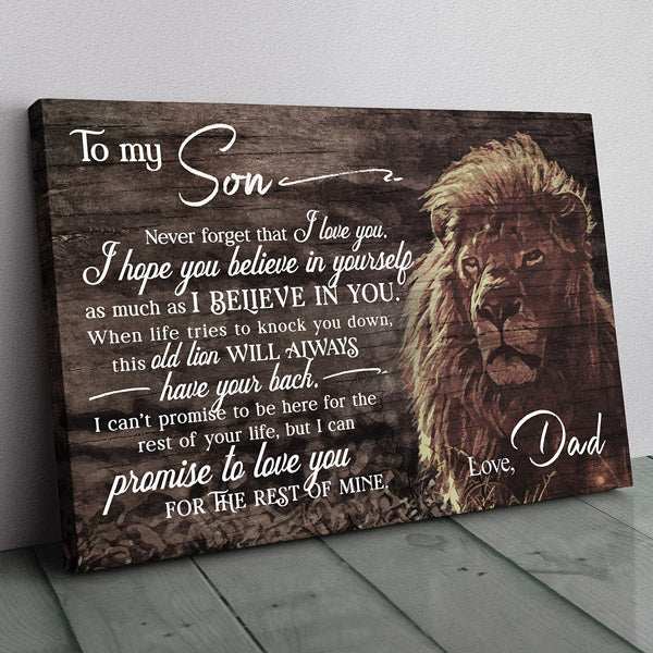 """Lion Dad - To My Son, I Love You"" Premium Canvas Wall Art"