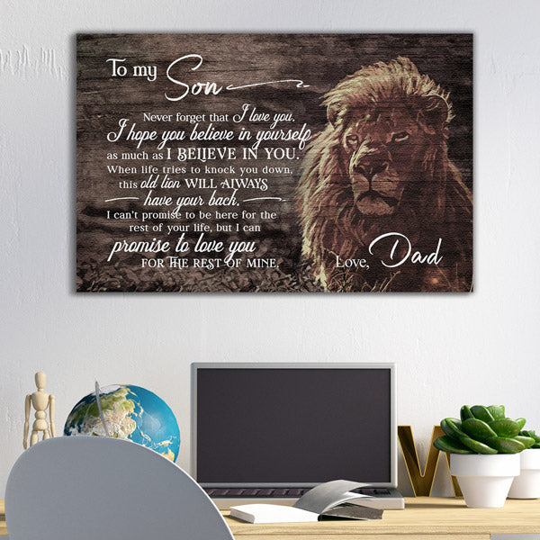 """To My Son, Never Forget I Love You, This Old Lion"" Premium Canvas"