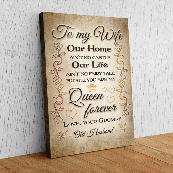 """To My Wife, My Queen Forever, Love, Your Husband"" Premium Canvas Wall Art"