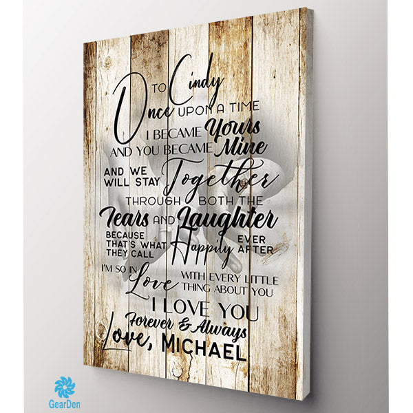 "Personalized Wall Art ""To My Wife - Once Upon A Time.."" Decor Gift"