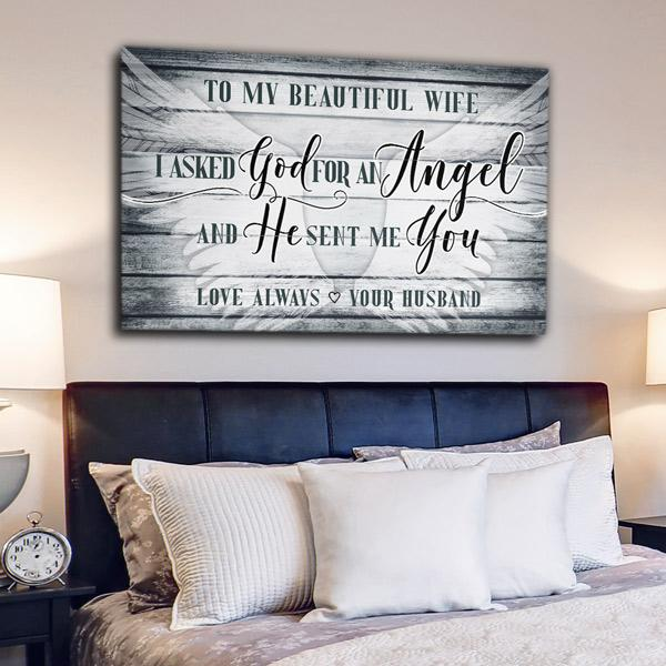"""To My Beautiful Wife"" Premium Canvas Wall Art"