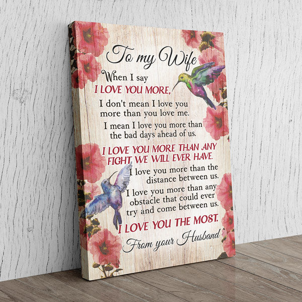 """To My Wife - I Love You More"" Premium Canvas Wall Art"